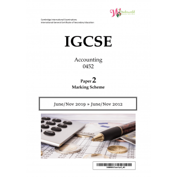 IGCSE Accounting 0452 | Paper 2 | Marking Scheme