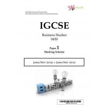IGCSE Business Studies 0450 | Paper 1 | Marking Scheme