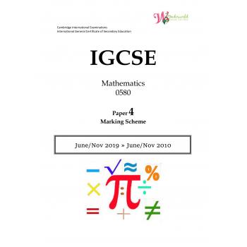IGCSE Mathematics 0580 | Paper 4 | Marking Scheme