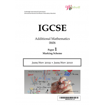 IGCSE Additional Mathematics 0606 | Paper 1 | Marking Scheme