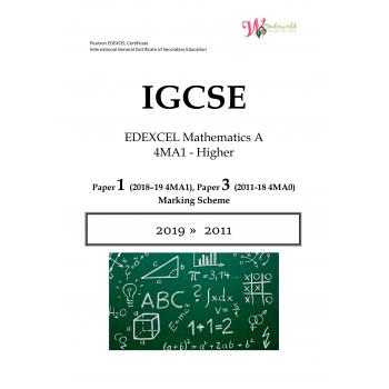 IGCSE Edexcel Mathematics A 4MA1 | Paper 3 | Marking Scheme