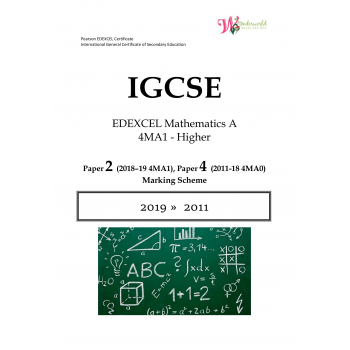 IGCSE Edexcel Mathematics A 4MA1 | Paper 2 | Marking Scheme