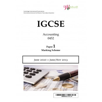 IGCSE Accounting 0452 | Paper 1 | Marking Scheme