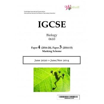 IGCSE Biology 0610 | Paper 4 | Marking Scheme