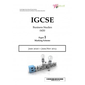 IGCSE Business Studies 0450 | Paper 1 | Marking Scheme
