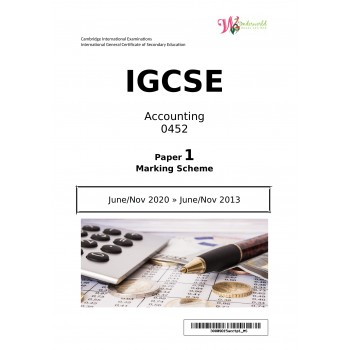 IGCSE Accounting 0452 | Paper 1 | Marking Scheme