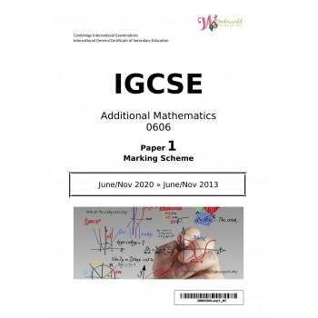 IGCSE Additional Mathematics 0606 | Paper 1 | Marking Scheme