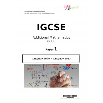 IGCSE Additional Mathematics 0606 | Paper 1 | Question Papers