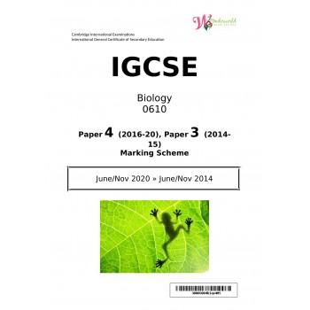 IGCSE Biology 0610   Paper 4   Marking Scheme