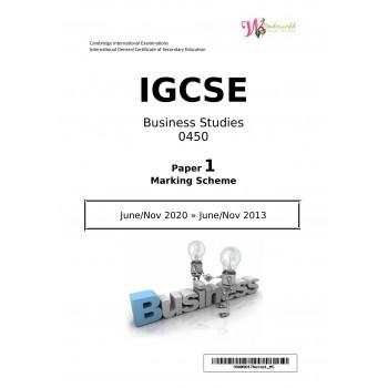 IGCSE Business Studies 0450   Paper 1   Marking Scheme