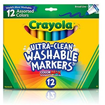 Crayola Ultra-Clean Washable Markers, Broad Line 12