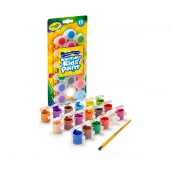 Crayola Washable Paint Pots with Brush 18