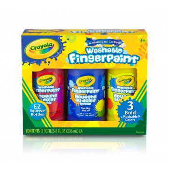 Crayola Washable Bold Fingerpaint, Primary Colors 3