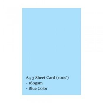 A4 3 Sheet Card 160gsm 100s' (Blue)