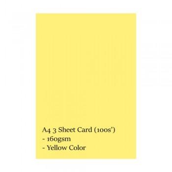 A4 3 Sheet Card 160gsm 100s' (Yellow)