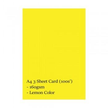 A4 3 Sheet Card 160gsm 100s' (Lemon)