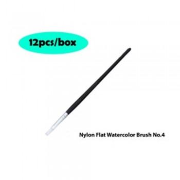 Nylon Flat Watercolor Brush No.4 - 12pcs/box