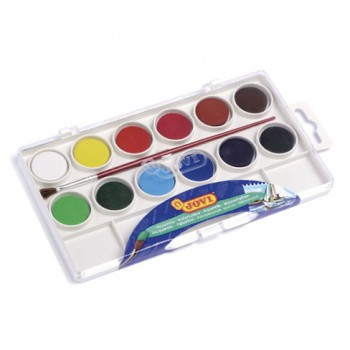 Jovi Watercolours plastic box 12 bars 22mm assorted colours