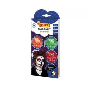 Jovi cream Face Paint kit HALLOWEEN 6 jars 8 ml + accessories