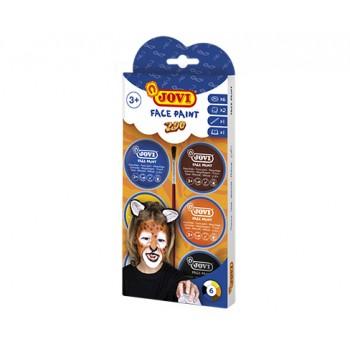Jovi cream Face Paint kit ZOO 6 jars 8 ml + accessories